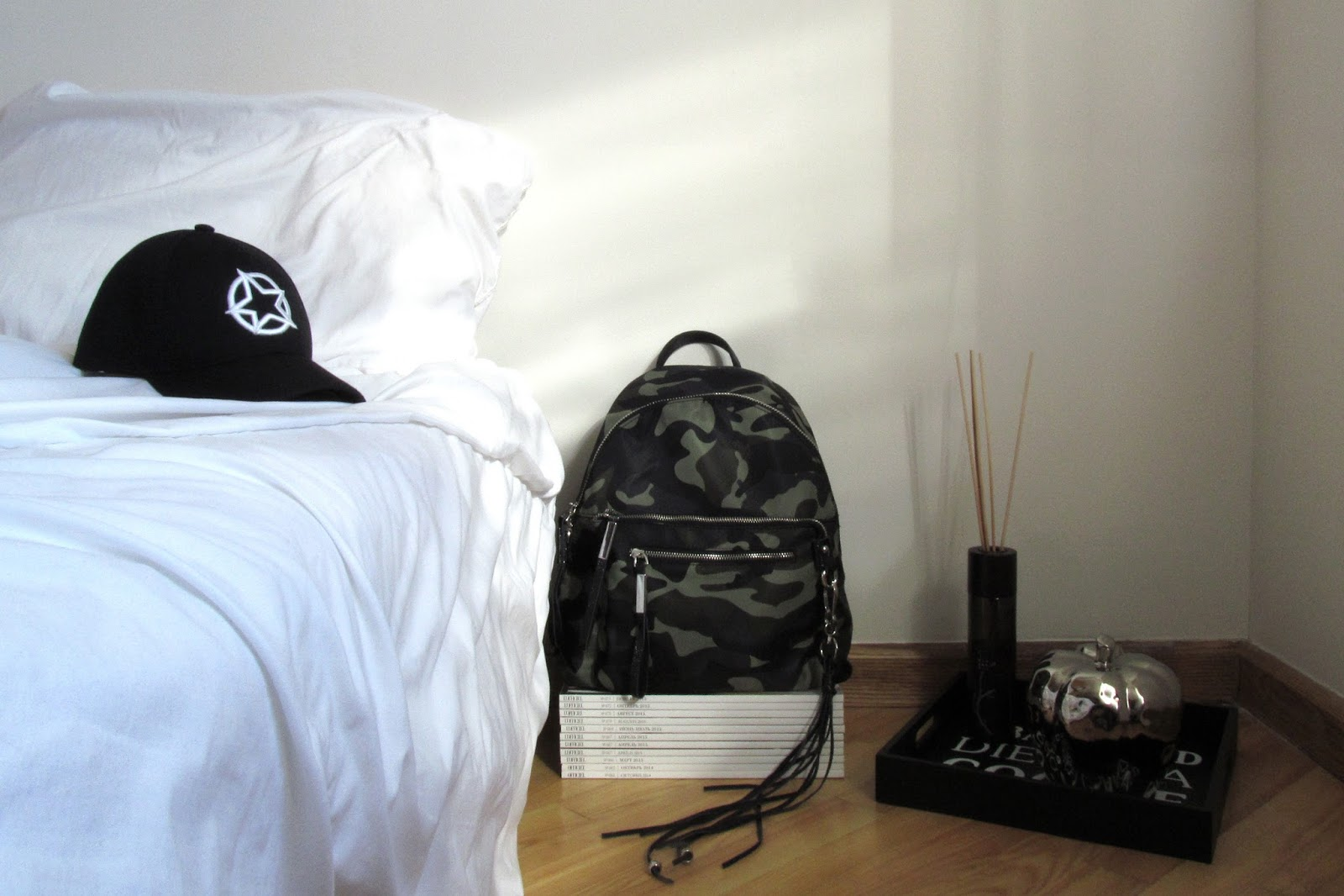 New In | White Star Cap + Camo Backpack
