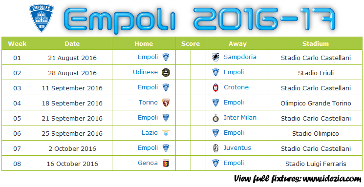 Download Jadwal Empoli FC 2016-2017 File PDF - Download Kalender Lengkap Pertandingan Empoli FC 2016-2017 File PDF - Download Empoli FC Schedule Full Fixture File PDF - Schedule with Score Coloumn