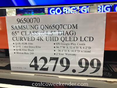 Deal for the Samsung QN65Q7CDM 65in Curved TV at Costco