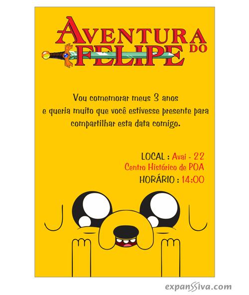 Convites Hora de Aventura Amarelo