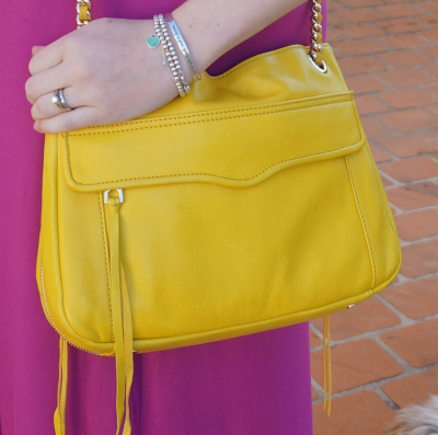 Bright canary yellow rebecca minkoff swing handbag colour blocking with purple dress