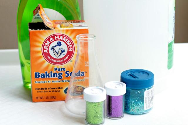 you'll need glitter, baking soda, dish soap, and vinegar