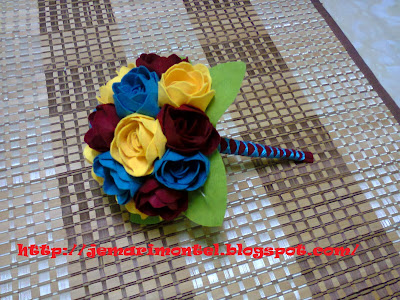 Felt Roses Hand Bouquet (Turquoise, Yellow & Maroon