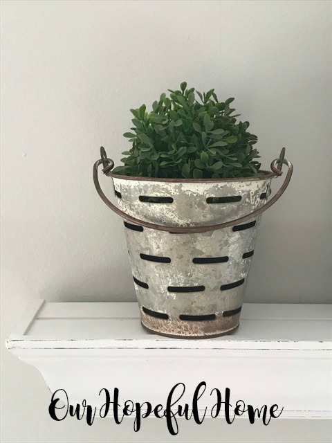 mini olive bucket boxwood ball farmhouse decor