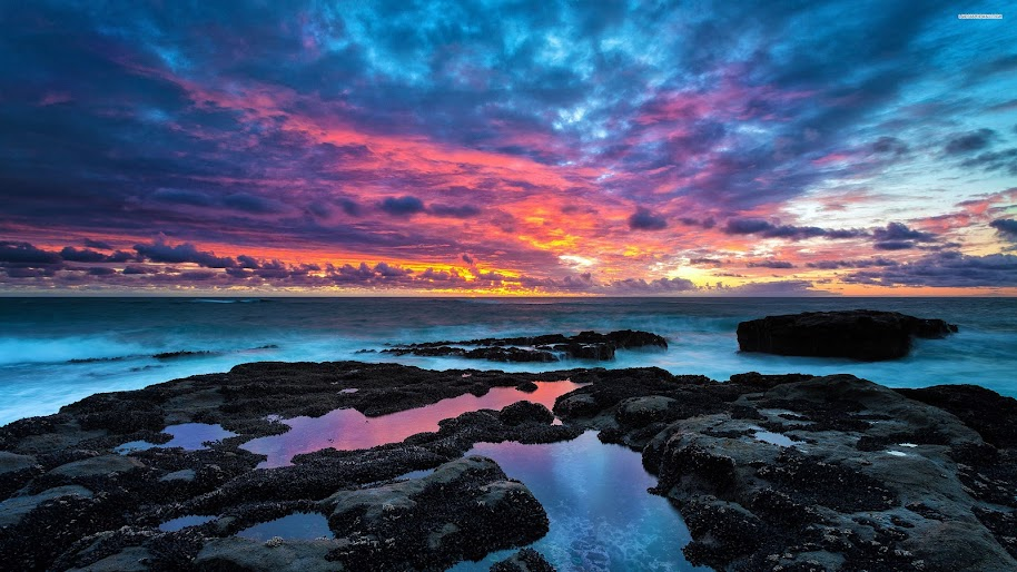 Sea Sunset Clouds Horizon Seascape Scenery Nature 4k