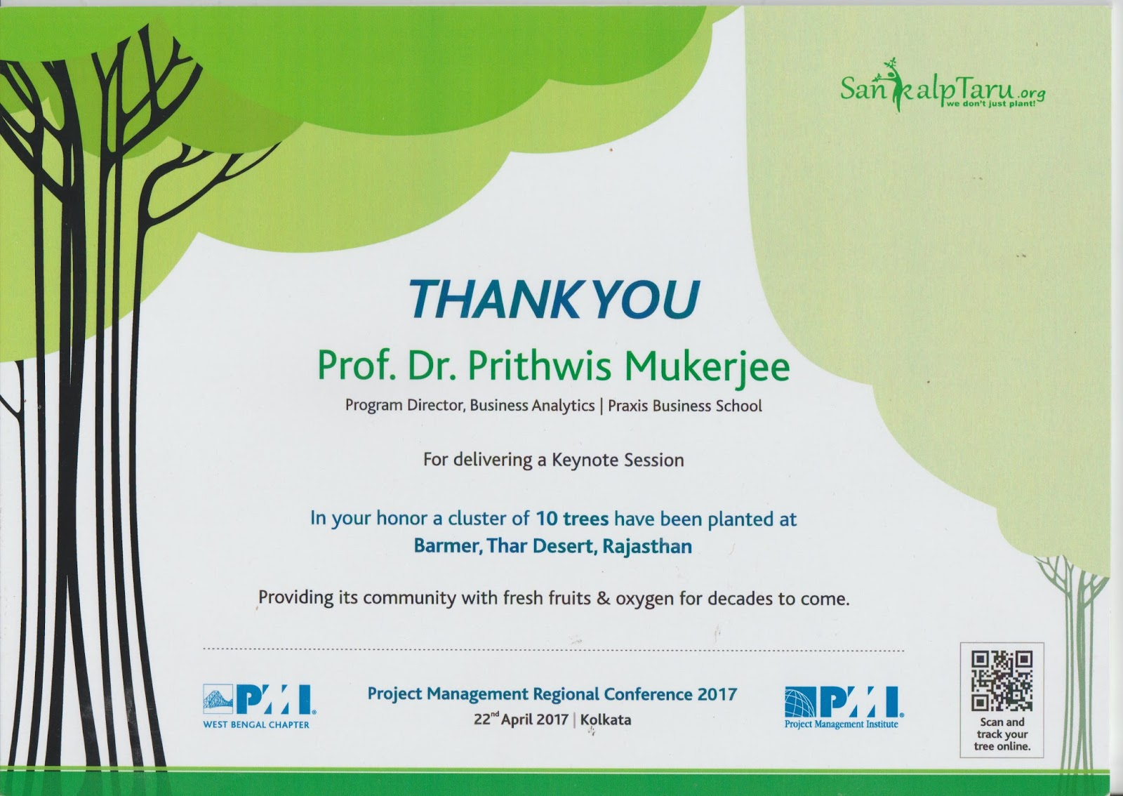 Blogyantrajaal beautiful and unusual gift from pmi west bengal what this means is that pmi has paid sankalptaru some money to plant 10 trees on my behalf and my tree is visible in at the url indicated by the xflitez Gallery