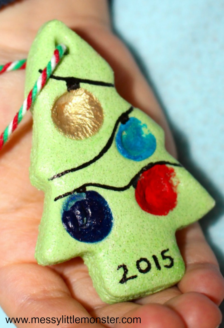 Salt dough crafts - fingerprint christmas tree salt dough ornament