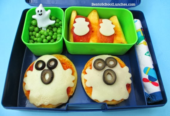 Ghost Pizza with Recipe. Kids Halloween school lunch