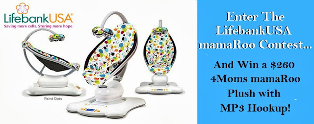 """Like"" LifebankUSA on Facebook for a chance to win a 4moms mamaRoo!"