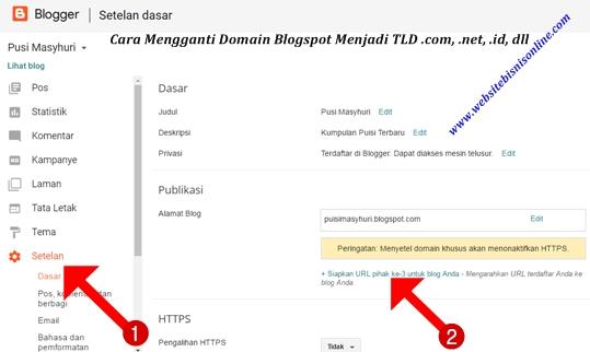 Ubah Domain Blogspot.com Menjadi .com di Dasbor Blogger