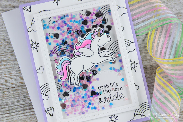 Unicorn Shaker Card by Juliana Michaels featuring Newton's Nook Designs Believe In Unicorns Stamp Set