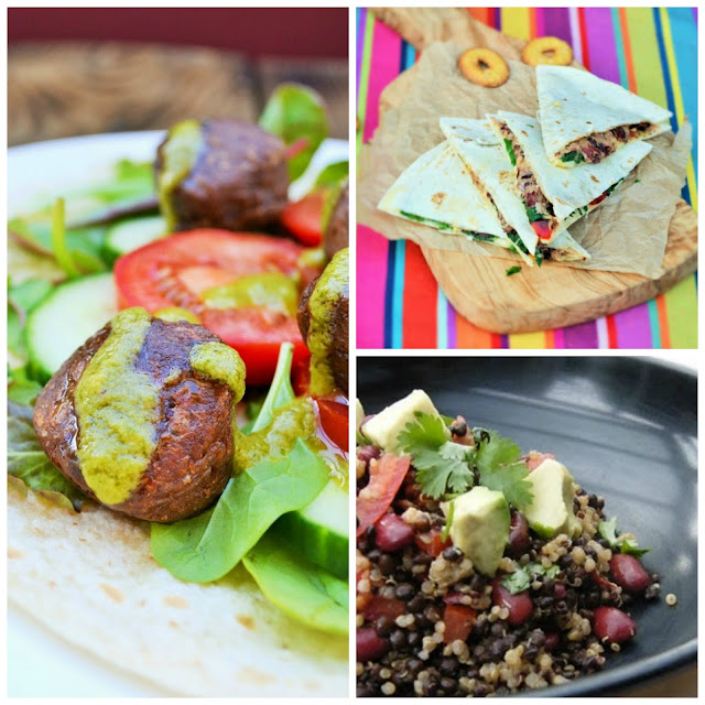 Veggie bean recipes - Kidney Bean Falafel, Bean, Spinach & Red Pepper Quesadillas and Quinoa Lentil & Bean Salad. Full of protein, fibre and iron.
