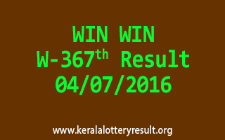 WIN WIN Lottery W 367 Results 4-7-2016