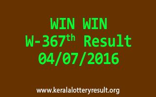 WIN WIN Lottery W 367 Results 4-7-2016