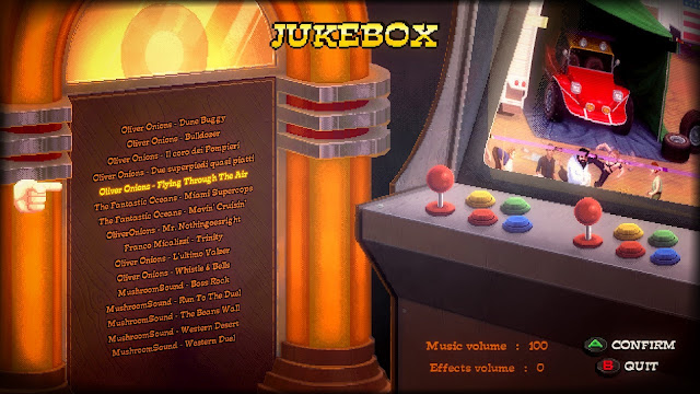 Bud Spencer & Terence Hill - Slaps and Beans -  The Jukebox, which we can find in the game menu. It contains 16 tracks, by Oliver Onions, Fantastic Oceans, etc.