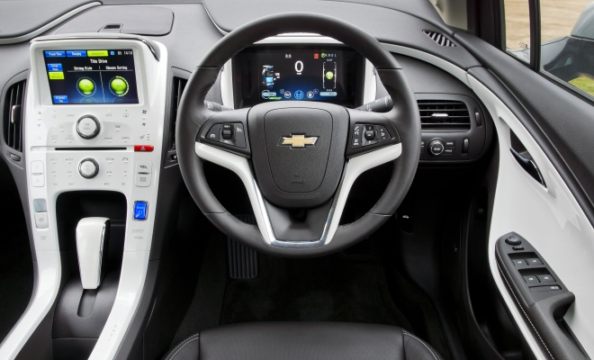 Chevrolet Volt cockpit showing twin information screens