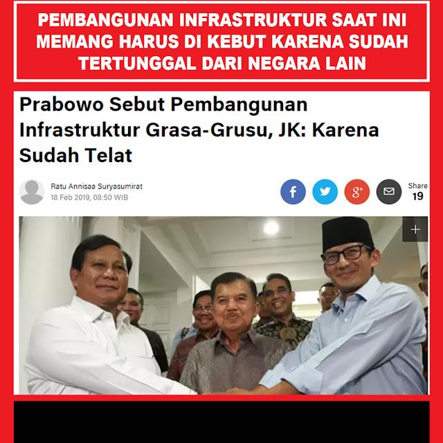 Prabowo Sebut Pembangunan Infrastruktur Grasa-Grusu, JK: Karena Sudah Telat