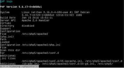 cara konfigurasi web server di linux debian 8 php info