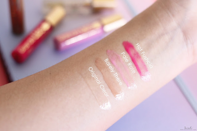 GrandeLIPS Instant Lip Plumper Swatches (L-R) : Original Clear, Barely There, Pale Rose, Hot Fuschia