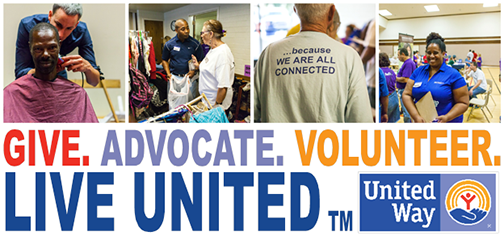Poster for United Way: Give.  Advocate. Volunteer.  Live United. Images of volunteers working with homeless