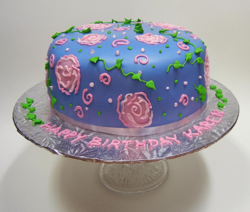 Purple Happy Birthday Karen Cake