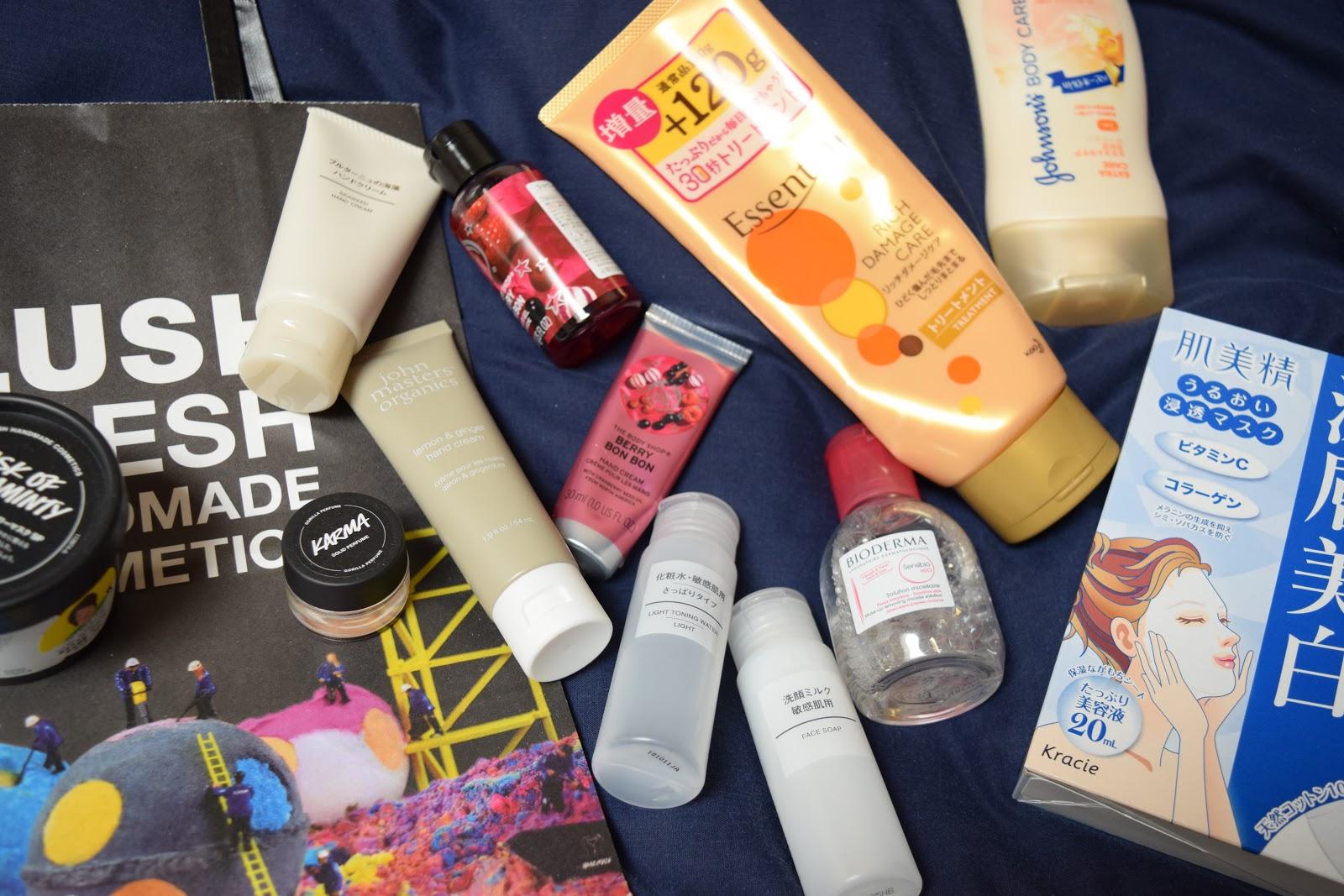 Japanese beauty products flatlay