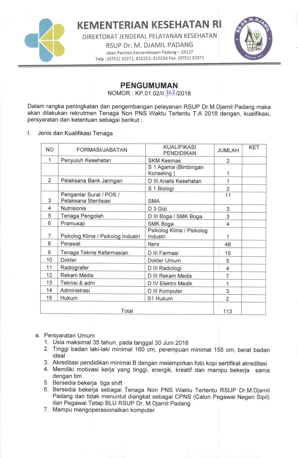 Rekrutmen Non PNS RSUP Dr.M.Djamil Padang Tahun 2018