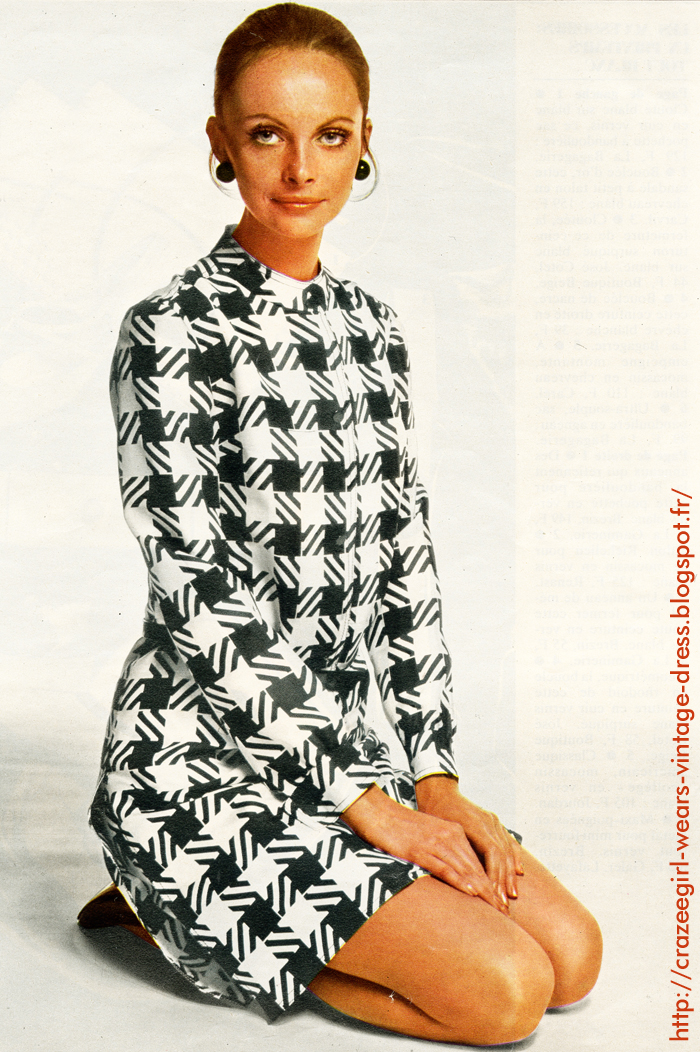 Dress coat , black white houndstooth . Pisanti chez Best Seller vintage 1969 60s 1960 annees 60 twiggy mod