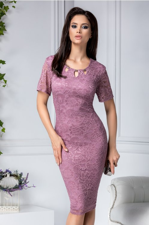 Rochie marime mare lila eleganta de ocazie din dantela florala maxi