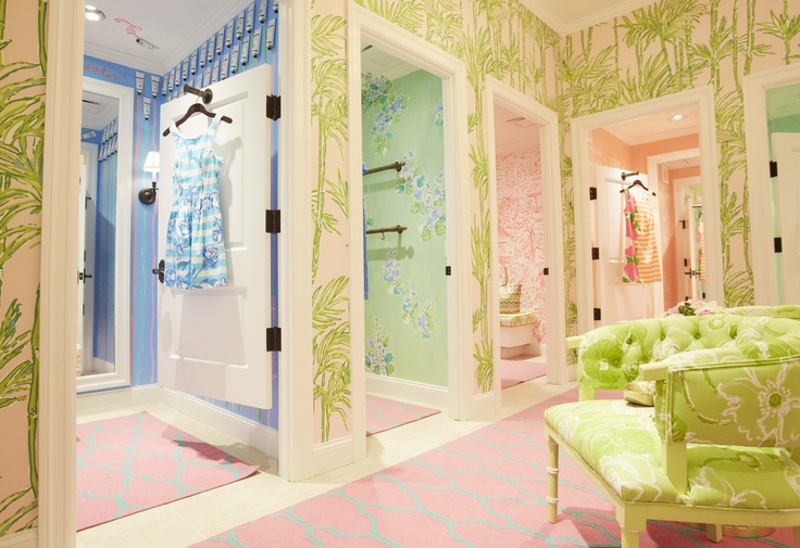 Room In Lilly Paper So What S Up People Why Not Introduce A Wallpaper Line I Hope Your Weekend Is As Cheerful These Fun Dressing Rooms
