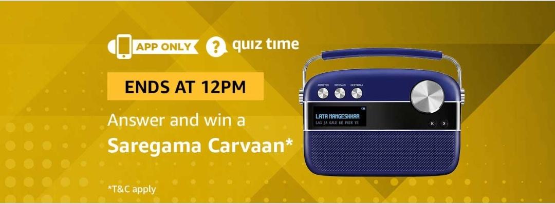 Amazon 9th February Quiz Answer- Free Saregama Carvaan