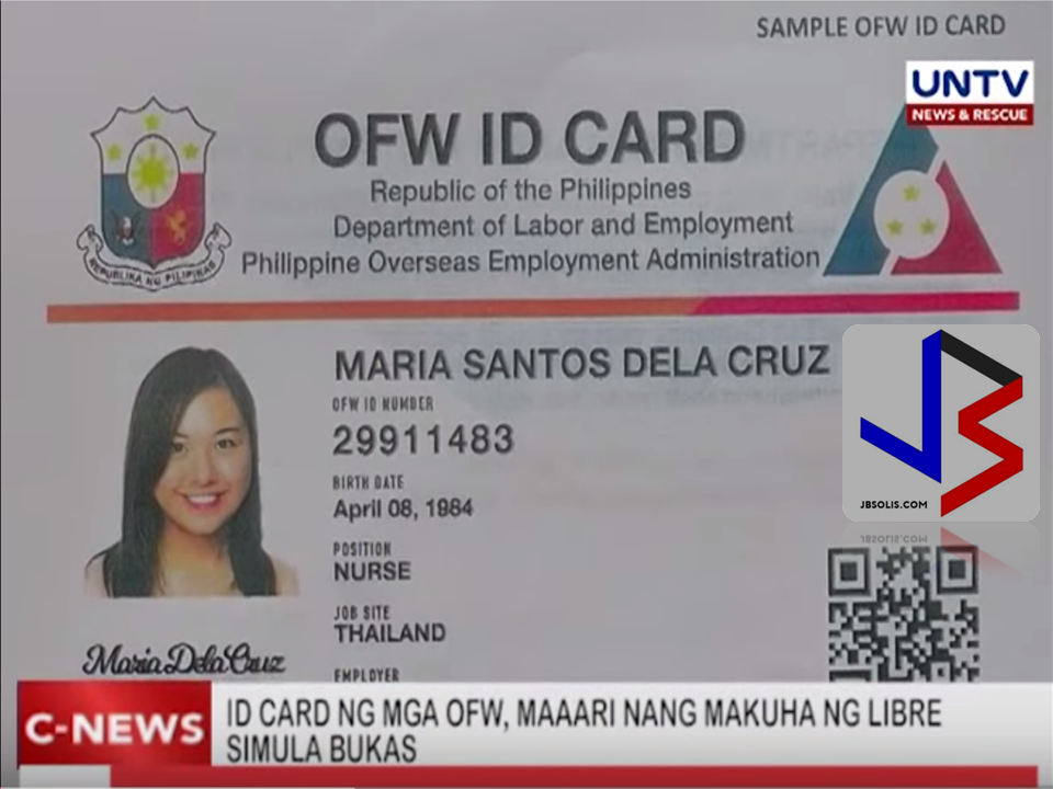 Ever wonder how an OFW ID, or the I-DOLE ID looks like? Here it is. Front and back copies provided by DOLE, that will be distributed starting this July 2017. Tomorrow after presentation to President Duterte at Malacanang, the DOLE and POEA will start producing this FREE OFW Identification card and will be distributed to POLO Offices or will be sent to OFWs. Here's what we know so far: 1. No need to apply for the iDole or OFW ID.  2. All the bonafide OFWs who are listed in the POEA will acquire the ID. 3. OFW ID is free. There will be no fees to be collected to receive the OFW ID. 4. OFW ID can be used as a beep card in taking MRT or LRT rides. 5. It will serve as a debit or credit card in the OFW Bank that will be opening soon. 6. The OFW ID can be used in any government or private transactions. (e.g. SSS, Philhealth and Pag-Ibig). 7. The OFW will only be the prime recipient and receiver. 8. The OFW ID will be the replacement for OEC. 9. In the future, it will serve as an e-passport.  10. The waiting is over, It will start on July 12, 2017 to be introduced to President Duterte at Malacanang and will be for distribution starting end of July.
