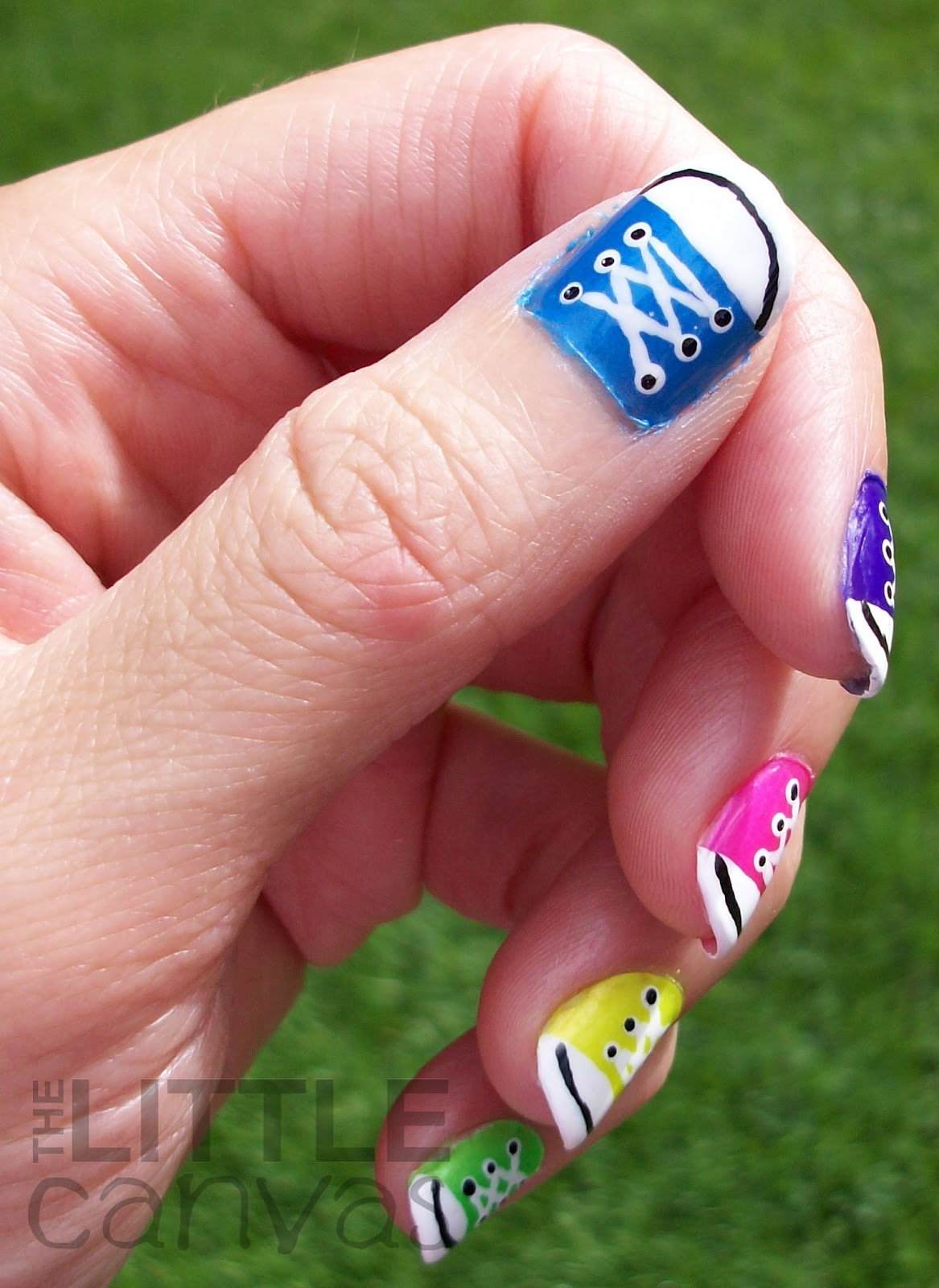 3a133abd9be7 31 Day Challenge - Day 7 - Rainbow Nails - Converse Nail Art! - The ...