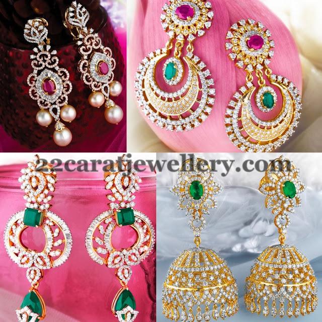Elegant Diamond Earrings by GRT - Jewellery Designs