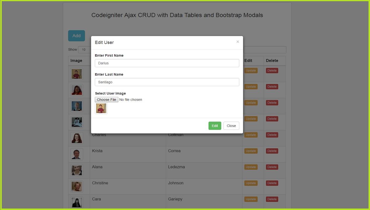 Codeigniter Ajax Crud using DataTables - Update / Edit Data