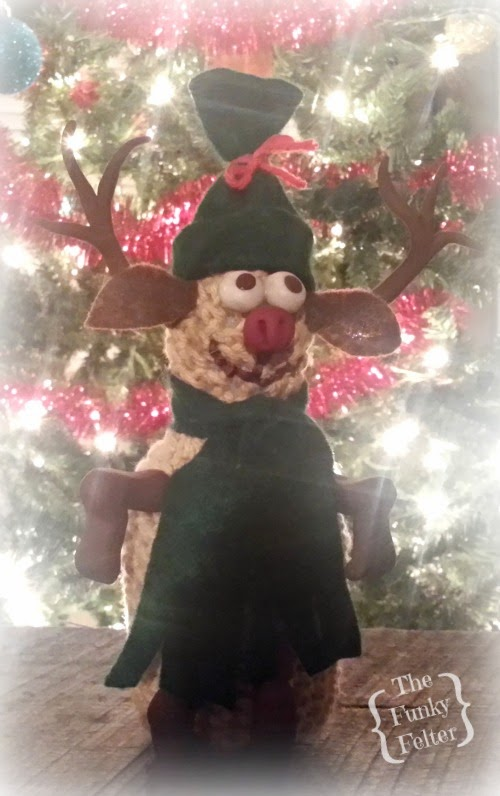 free handmade crochet reindeer pattern with polymer clay nose eyes ears by the funky felter