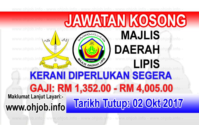 Jawatan Kerja Kosong MDL - Majlis Daerah Lipis logo www.ohjob.info oktober 2017