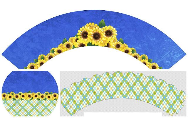 Margaritas en Fondo Azul: Toppers y Wrappers para Cupcakes de Boda para Imprimir Gratis.