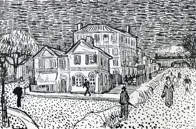 1888 vincents house in arles aka the yellow house pen and ink 13 x 20 5 cm see watercolour below