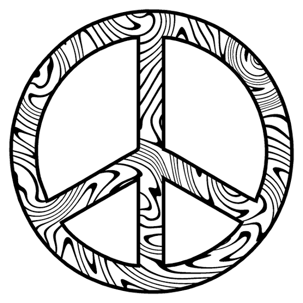 It's just a graphic of Enterprising Peace Sign Coloring Page