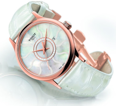Tissot Rose Dream Gold watch with mother of pearl dial