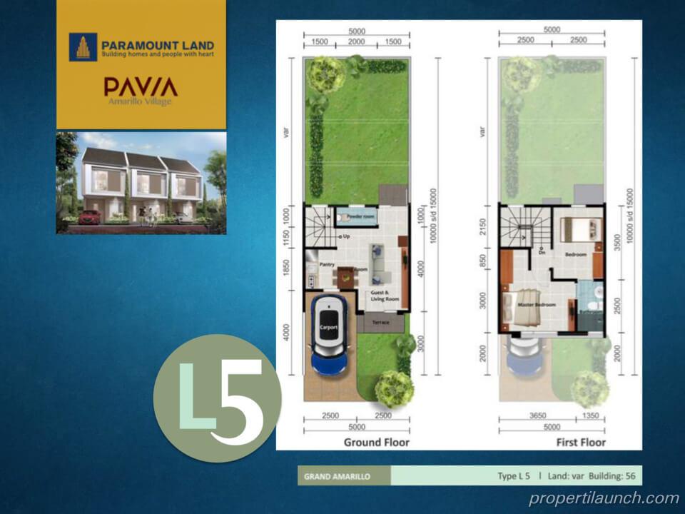 Denah Rumah Pavia Amarillo Village Tipe L5