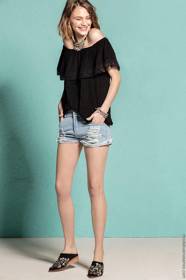 Blusas de moda primavera verano 2018. Moda mujer estilo juvenil. Ropa de moda para mujer. Blusas hombros al descubierto.