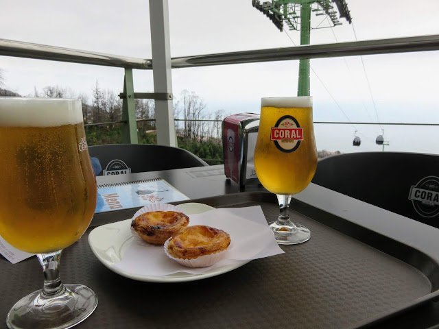 Beer and pasteis de nata served near the cable car at Monte on Madeira