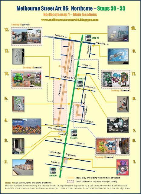 Melbourne Street Art Map Melbourne Street Art 86: NORTHCOTE   High St Melbourne Street Art Map