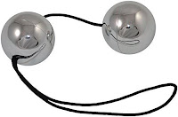 silver duotone balls-hollow ben wa balls that contain smaller balls for vibration