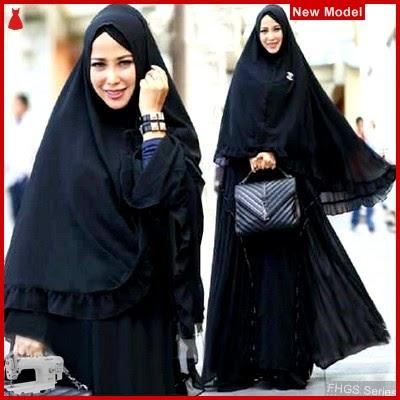 FHGS9176 Model Syari Miranda Hitam, Perempuan Baju Muslim Jersey BMG