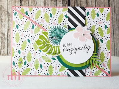 Stampin' Up rosa Mädchen Kulmbach: diagonale Geburtstagskarte Traumhaft Tropisch mit Tropenflair