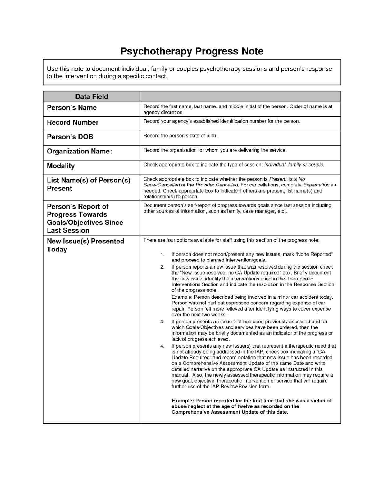 Dap psychotherapy note templates 3 free word format d for Psychology progress note template