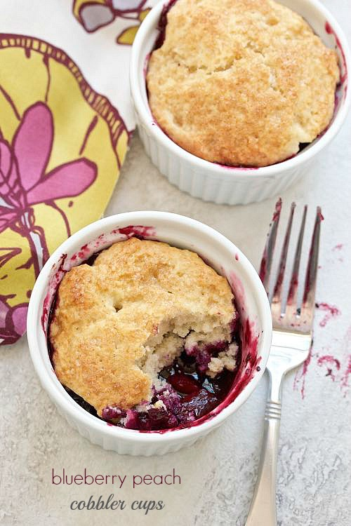 Blueberry peach cobbler cups